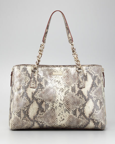 cobble hill andee snake-print tote bag