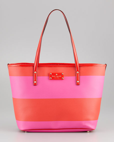 boutique striped small harmon bag, vivid snapdragon