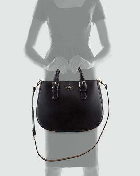 charlotte street sylvie satchel bag, black