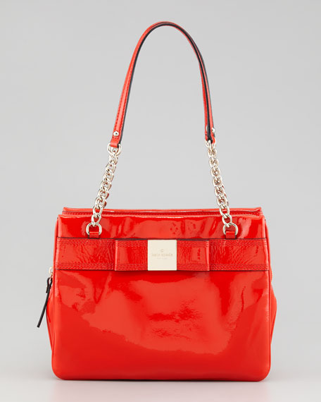 primrose hill patent leather shoulder bag, maraschino