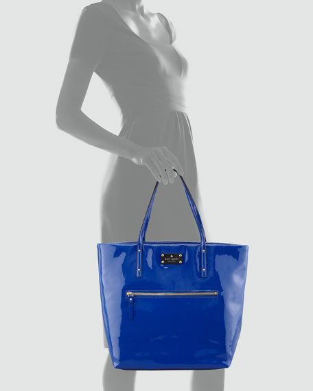 patent leather flicker bon shopper, yves blue
