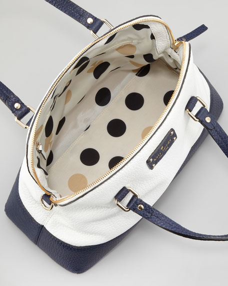 grove court maise satchel bag, cream/navy