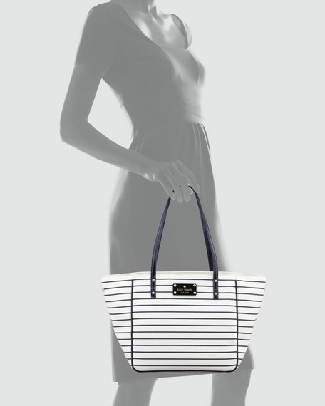 city-stripe small sidney tote bag, cream/navy