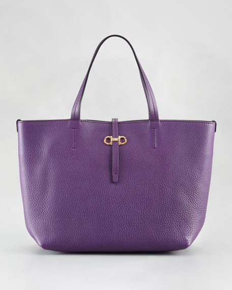 Gavina Leather Tote Bag, Blueberry