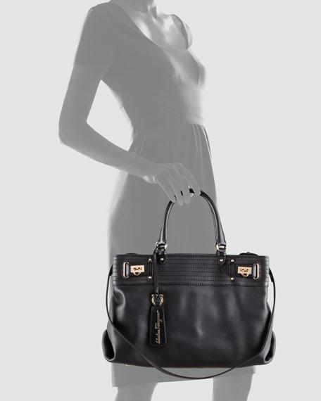 W Vitello Tote Bag, Black
