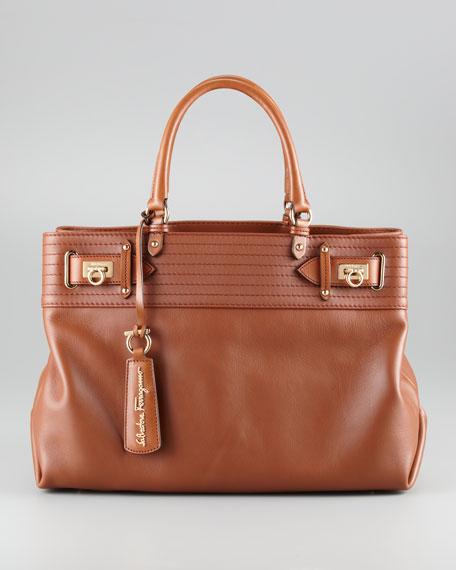 W Vitello Tote Bag, Tan