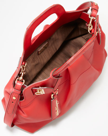 W Soft Leather Satchel Bag, Red