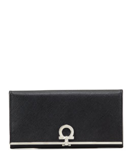 Salvatore Ferragamo Gancini Icona Continental Wallet, Black