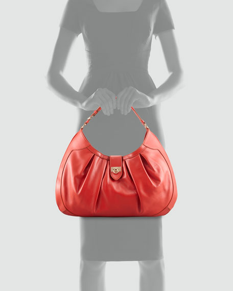 Roxanne Pleated Hobo Bag, Dark Orange