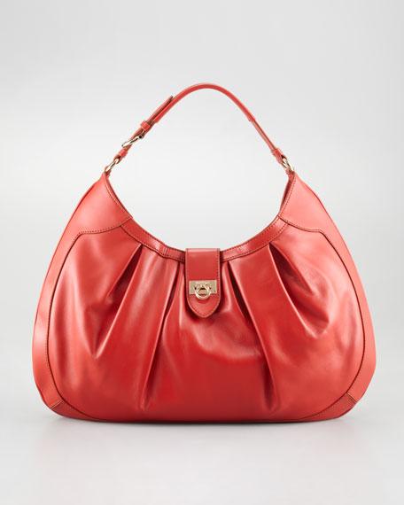 Roxanne Pleated Hobo Bag, Dark Orange