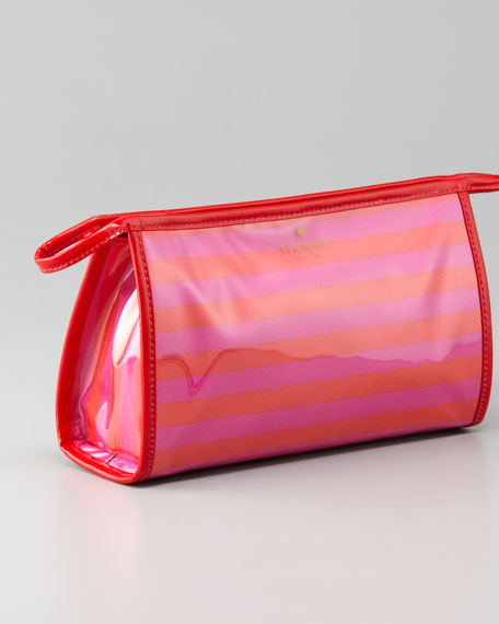 heddy sweetshoppe medium striped cosmetic case, vivid snapdragon