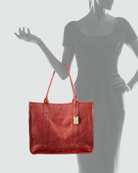 Campus Leather Shopper Bag, Burnt Red