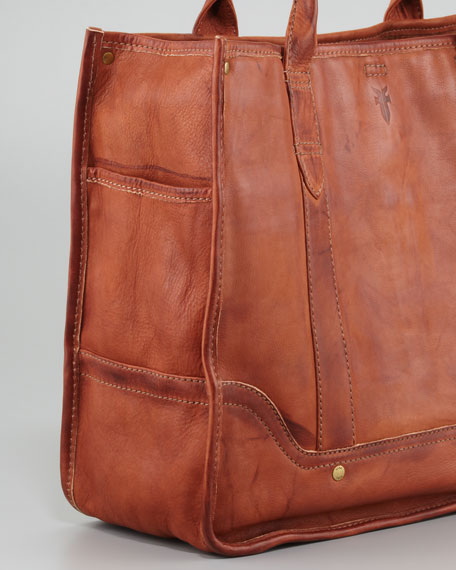 Campus Leather Shopper Bag, Saddle
