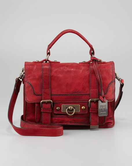 Cameron Small Satchel Bag, Burnt Red