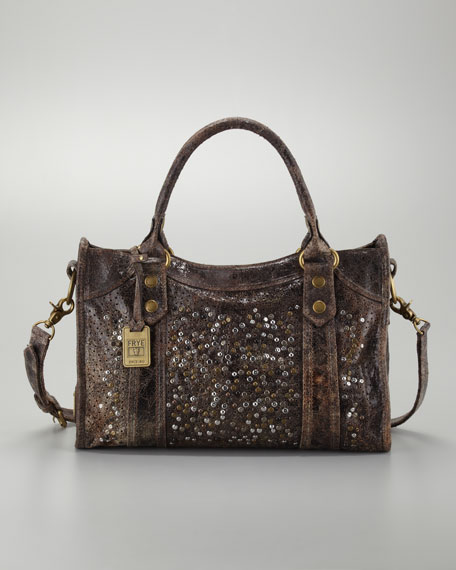 Deborah Studded Satchel Bag, Chocolate