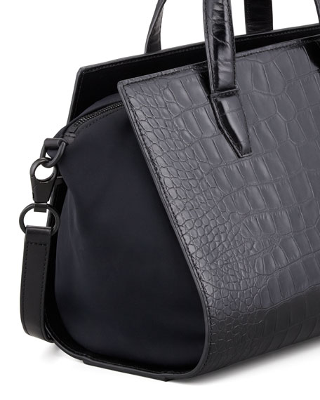Pelican Crocodile-Embossed Satchel Bag, Black