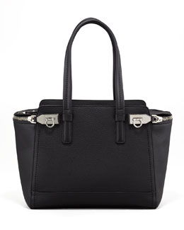Salvatore Ferragamo Verve Zip Tote Bag, Black
