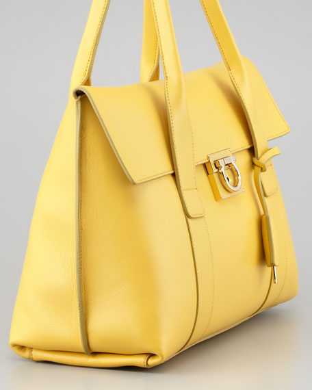 Sookie Flap-Front Satchel Bag, Yellow