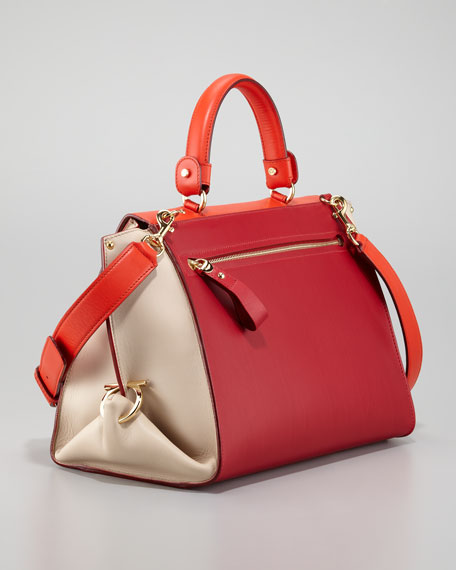 Sofia Colorblock Flap Satchel Bag, Red