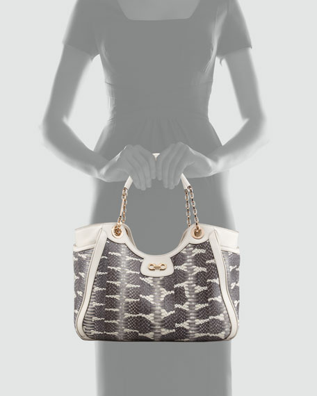 Betulla Snake-Print Leather Tote Bag, Cream