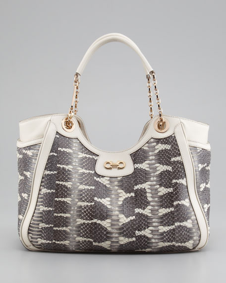 Salvatore Ferragamo Betulla Snake-Print Leather Tote Bag, Cream