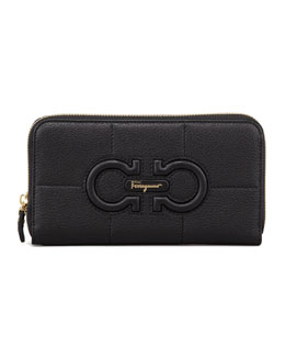 Salvatore Ferragamo Gancio Continental Wallet, Black