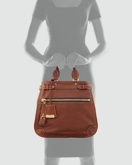Medium Leather Tote Bag, Dark Tan