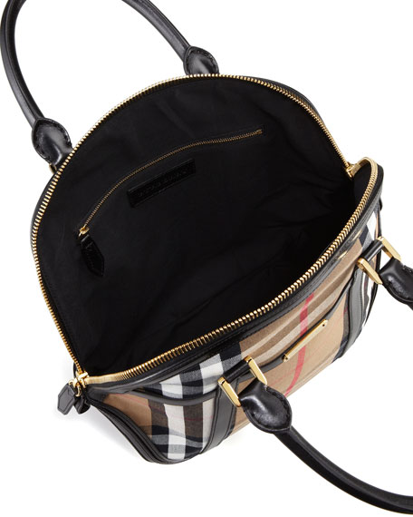 Medium Check Bowler Bag, Black