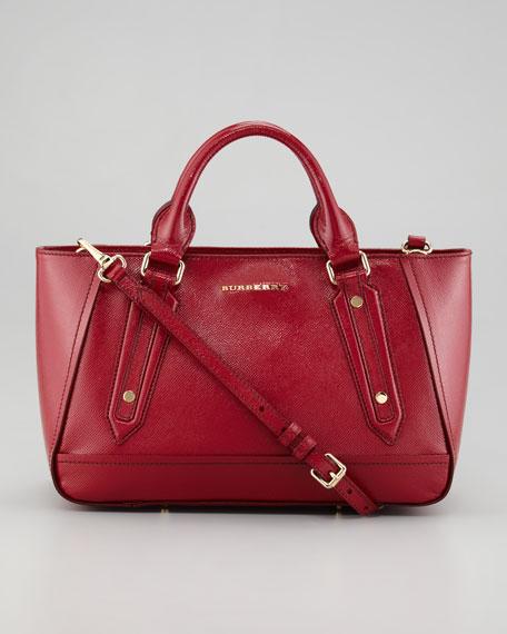 Small Patent Calfskin Tote Bag, Crimson