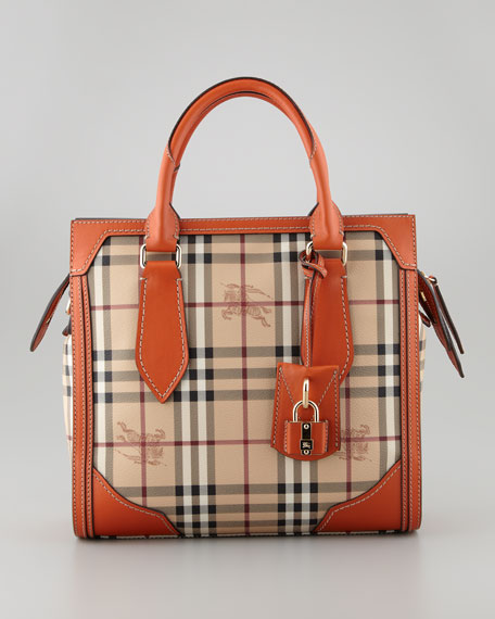 Small Haymarket Check Tote Bag, Tangerine