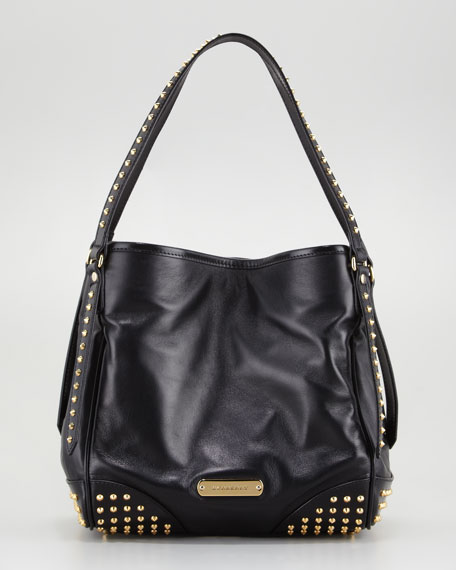 Small Studded Tote Bag, Black