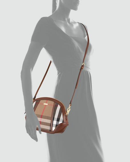 Mini Check Crossbody Bag, Dark Tan