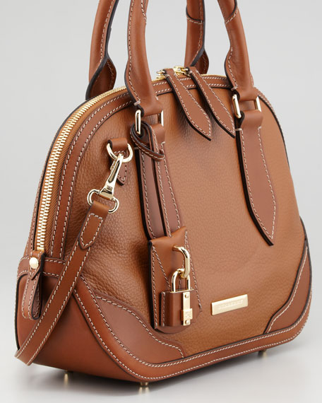 Small Leather Bowler Bag, Tan