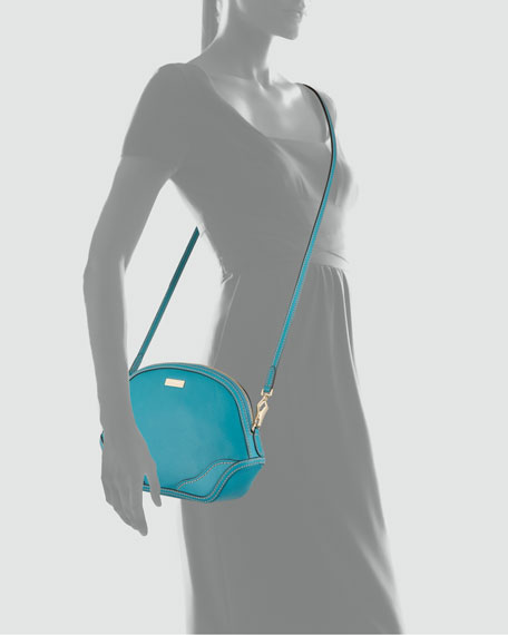 Mini Leather Crossbody Bag, Kingfisher