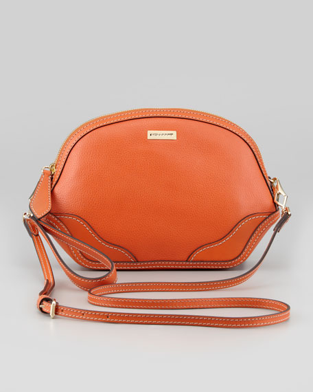 Mini Leather Crossbody Bag, Tangerine
