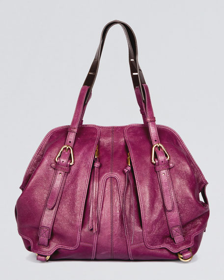 Chris Leather Satchel Bag, Magenta