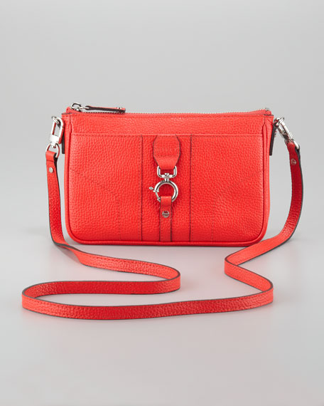Felicity Pebbled Mini Crossbody Bag, Vermillion