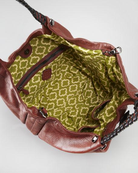 Woven-Handle Hobo Bag