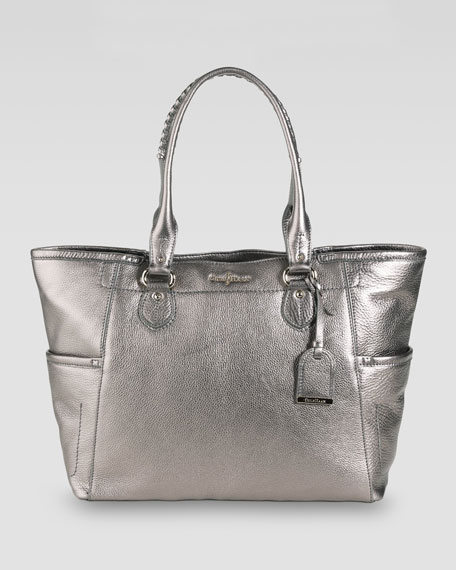 Linley Leather Tote Bag, Gunsmoke