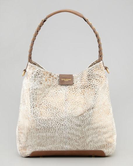 Gahan Metallic Hobo Bag, White/Spice