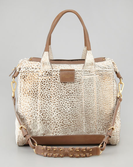 Iggy Metallic Satchel Bag, White/Spice