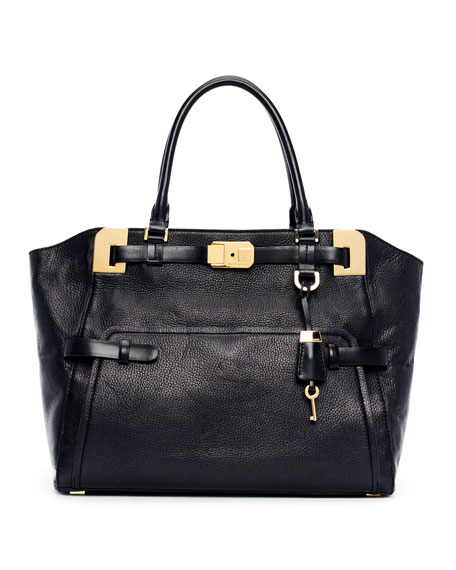 Large Blake Pebbled Leather Satchel