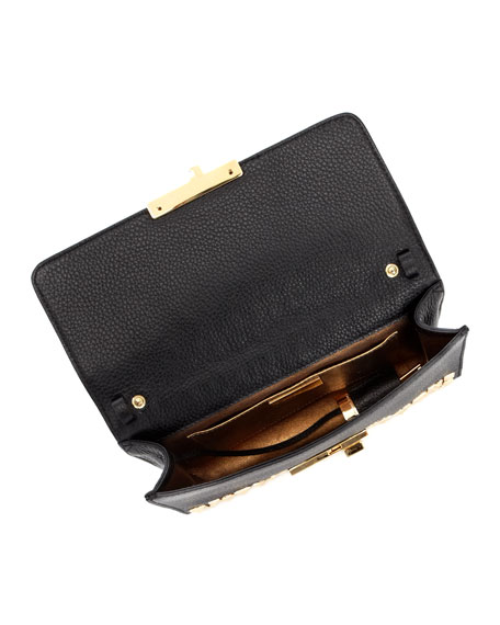 Gia Studded Pebbled Leather Clutch Bag