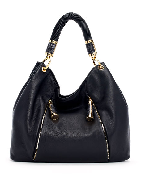 Tonne Pebbled Leather Hobo Bag