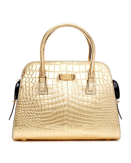 Gia Metallic Crocodile-Embossed Satchel Bag