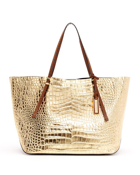 Gia Metallic Crocodile-Embossed Leather Tote Bag