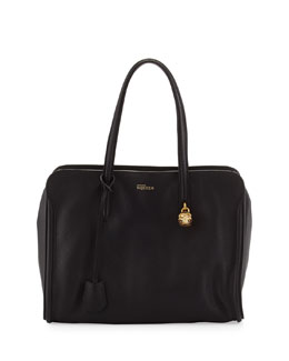 Alexander McQueen New Skull Padlock Zip-Around Tote Bag, Black