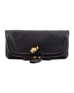 Alexander McQueen Skull Padlock Fold-Over Clutch Bag, Black