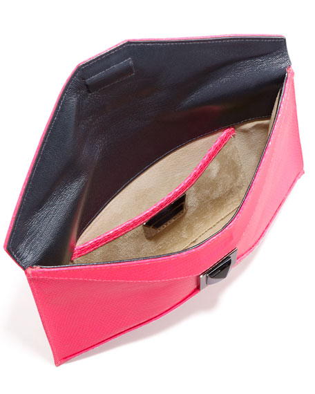 Prunella Lizard Clutch Bag, Pink Blaze