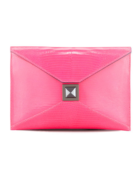 Prunella Lizard Clutch Bag, Pink Blaze